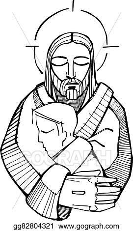 Abeka   Clip Art   Lad Giving to Jesus—boy with lunch