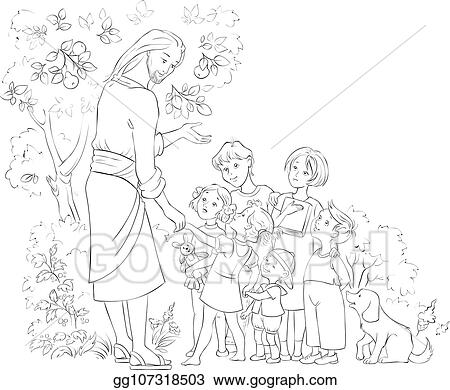 Clip Art Vector - Jesus With Children Coloring Page. Stock EPS Gg107318503  - GoGraph