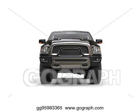 Stock Illustration Jet Black Modern Pick Up Truck Front