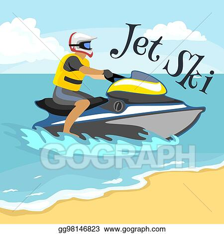 Vector Illustration Jet Ski Water Extreme Sports Isolated Design Element For Summer Vacation Activity Concept Cartoon Wave Surfing Sea Beach Vector Illustration Active Lifestyle Adventure Eps Clipart Gg98146823 Gograph