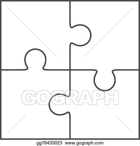 Jigsaw Puzzle Blank Vector 2x2 Four Pieces