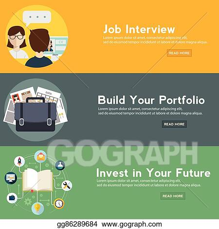 Vector Illustration Job Interview Portfolio And Future Investment