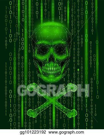 Vector Clipart - Jolly roger skull binary code numbers