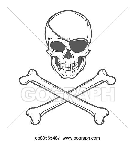 eps illustration jolly roger with eyepatch and crossbones logo