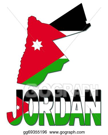 Vector Stock Jordan Map Flag And Text Clipart Illustration