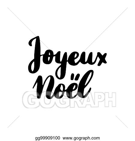 Joyeux Noel Clipart.Vector Clipart Joyeux Noel Lettering Vector Illustration