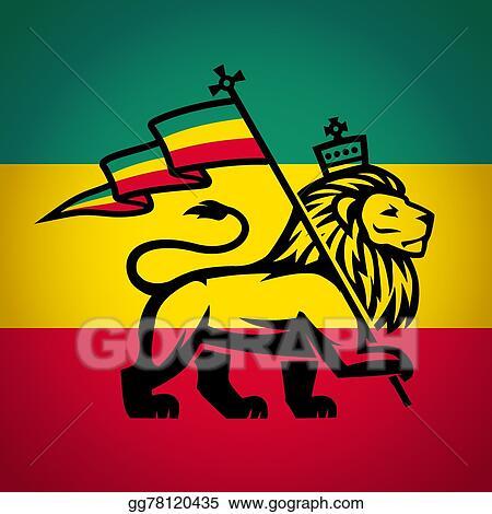 Vector Art Judah Lion With A Rastafari Flag King Of Zion Logo Stunning Fotos Rastafari Reggae