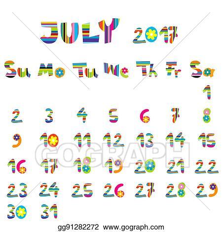 Stock Illustrations - July 2017 calendar  Stock Clipart