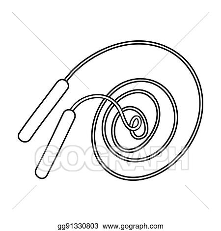 drawing jump rope icon in outline style isolated on white