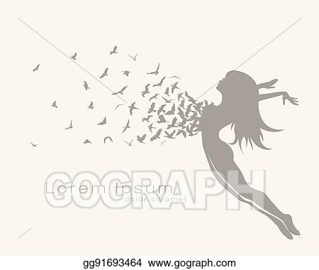 Vector Art Jumping Girl With Bird Flying Clipart Drawing