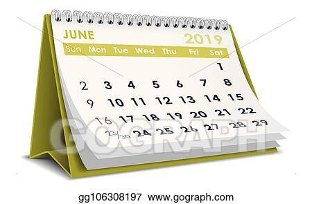 Illustration Calendrier.Vector Illustration June 2019 Calendar Eps Clipart