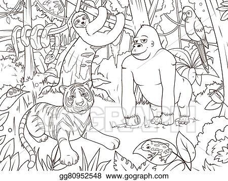 Clip Art Vector - Jungle animals cartoon coloring book ...