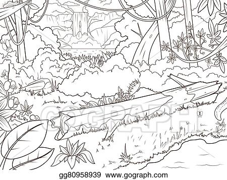 Vector Art - Jungle forest waterfal coloring book cartoon ...