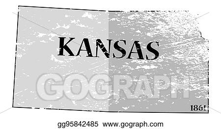 Vector Clipart - Kansas state and date map grunged. Vector ... on south carolina on map, wisconsin on map, minnesota on map, lsu on map, alabama on map, notre dame on map, colorado on map, kansas highway, yale on map, tulsa on map, marquette on map, kansas state highlights, ks road map, texas a&m on map, kansas flag, virginia on map, california on map, georgia on map, washington on map, gonzaga on map,