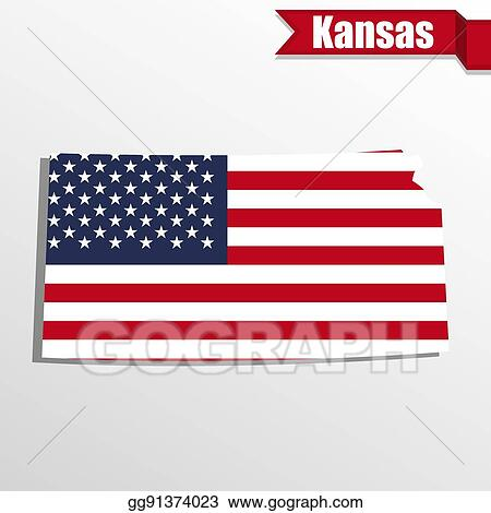 Vector Illustration Kansas State Map With Us Flag Inside And