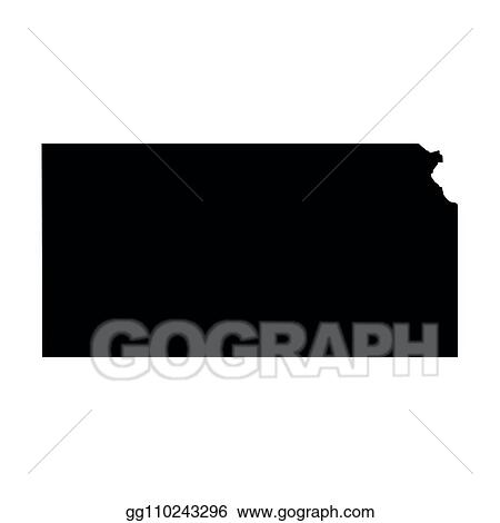 Vector Clipart Kansas State Of Usa Solid Black Silhouette Map