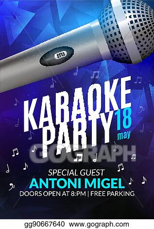 Eps Vector Karaoke Party Invitation Poster Design Template