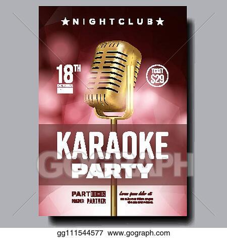 Vector Illustration - Karaoke poster vector  dance karaoke music