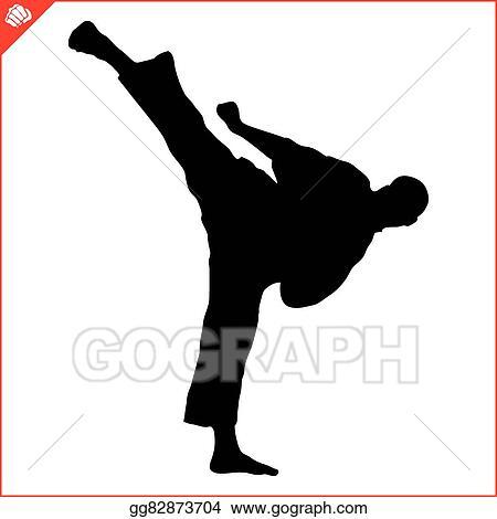 EPS Illustration - Karate kyokushin fighter high kick