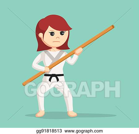 EPS Vector - Karate woman holding bo staff  Stock Clipart