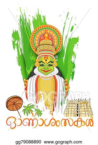 Vector Art Kathakali Dancer Face With Message Happy Onam Clipart Drawing Gg79088890 Gograph