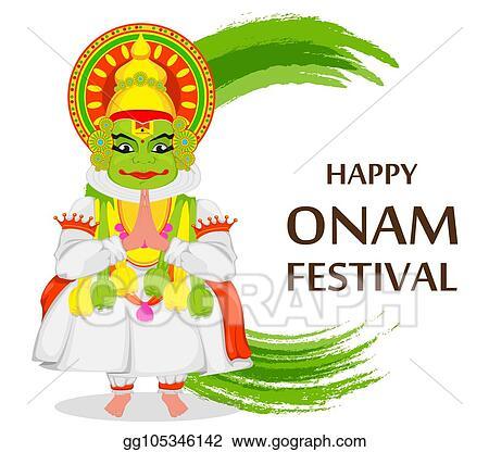 Vector stock kathakali dancer happy onam festival clipart happy onam festival m4hsunfo