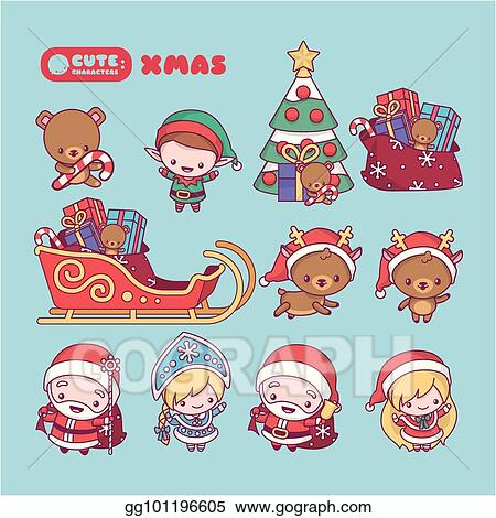 kawaii cute chibi cartoons new year set with characters santa claus snow maiden deer elf spruce gifts