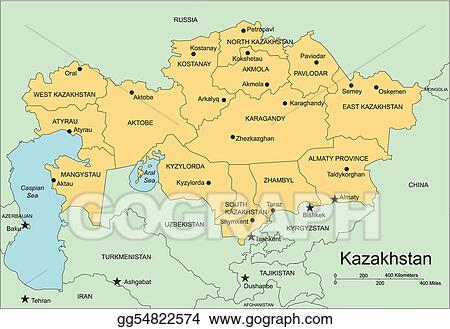 Clip Art Vector Kazakhstan administrative districts capitals and