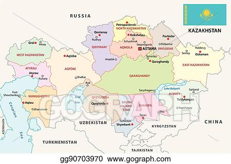 Vector Stock - Kazakhstan administrative map with flag ...