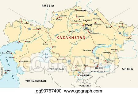 Kazakhstan Russia Map.Vector Stock Kazakhstan Road Map Stock Clip Art Gg90767490 Gograph