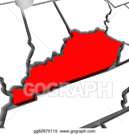 Stock Illustration - Kentucky red abstract 3d state map united ... on black kentucky map, funny kentucky map, cartoon kentucky map, print kentucky map, 3d kentucky flag, 3d kentucky outline, 3d kentucky poster, hd kentucky map,