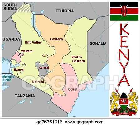 Vector Clipart Kenya administrative divisions Vector Illustration
