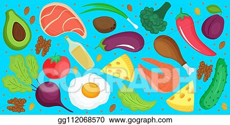 Vector Art Keto Diet Ketogenic Low Carb And Protein High Fat Horizontal Banner Of Fresh Vegetables Fish Cheese Egg Eps Clipart Gg112068570 Gograph