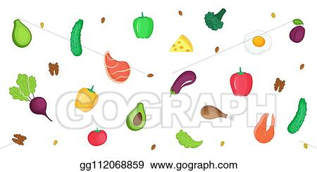 Vector Art Keto Diet Ketogenic Low Carb And Protein High Fat Horizontal Banner Of Fresh Vegetables Fish Meat Nuts Eps Clipart Gg112068859 Gograph