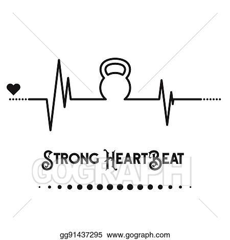 Vector Art Kettlebell Heartbeat Concept Clipart Drawing