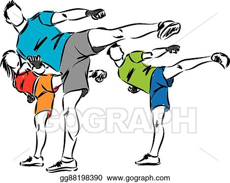 eps vector kick boxing fitness group stock clipart illustration rh gograph com  muay thai clipart