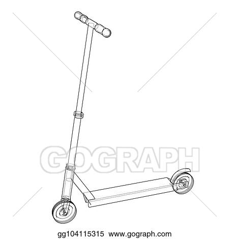 vector art kick scooter outline vector clipart drawing Clip Art Archetecture vector