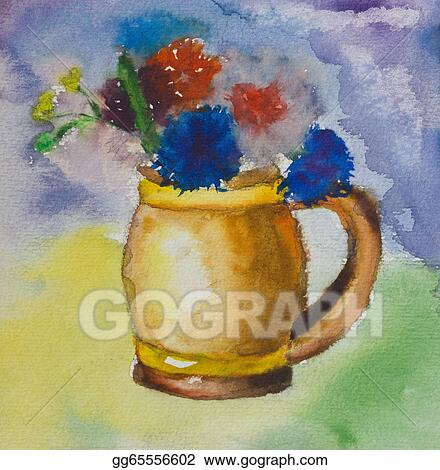 Stock Illustration - Kid aquarelle drawing of a colorful