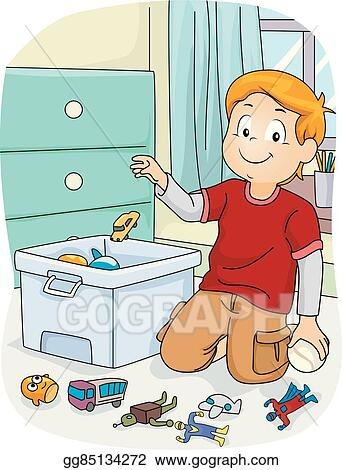eps vector kid boy chores store toys stock clipart illustration