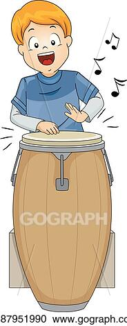 vector clipart kid boy conga vector illustration gg87951990 gograph