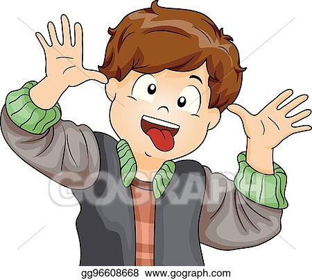 vector clipart kid boy making crazy face vector illustration rh gograph com Funny Work Clip Art Funny Animal Clip Art