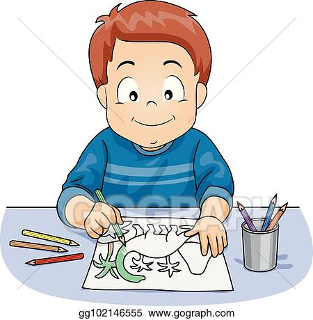 Kid Boy Pencil Coloring Activity Illustration