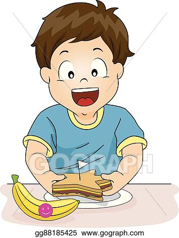 Kid Boy Preparing Healthy Snack