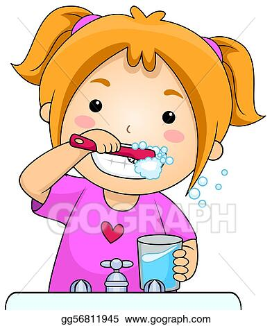 stock illustration kid brushing teeth clipart illustrations rh gograph com brush my teeth clipart brush teeth clipart free