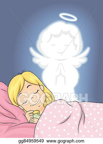 Eps Vector Kid Girl Guardian Angel Peaceful Sleep Stock Clipart