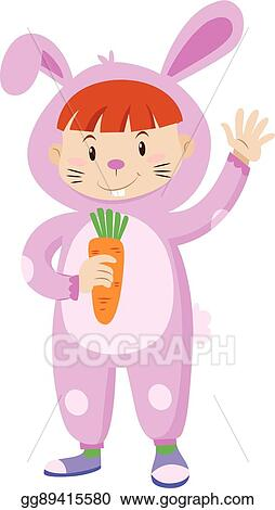 Vector Art Kid In Rabbit Costume Holding Carrot Clipart Drawing