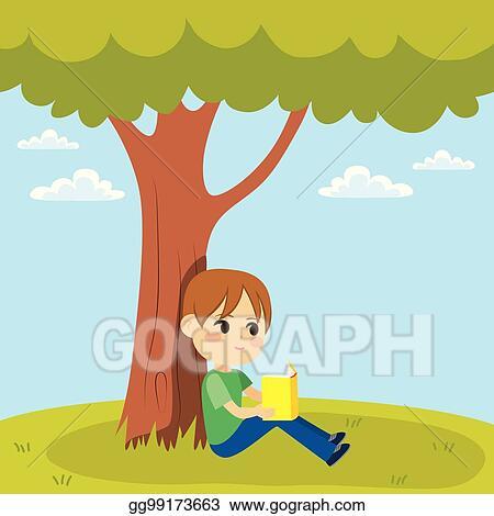 Vector Art Kid Reading Under Tree Clipart Drawing Gg99173663