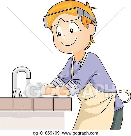 vector clipart kid sanitize hand lab vector illustration
