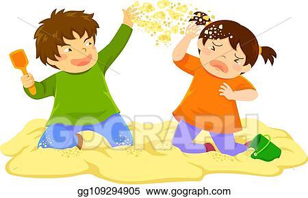 Vector Clipart - Kid throwing sand. Vector Illustration ...
