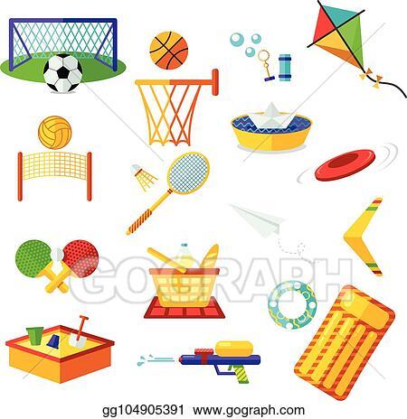 Clip Art Vector Kids Activities Elements Flat Collection Of